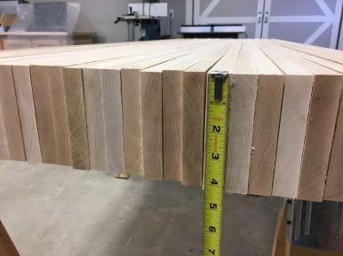 Based on an average density of 44 lb/ft3 for hard maple, the top alone should weigh about 175 pounds.