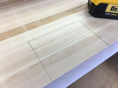 Mortise layout lines with centerline for drilling
