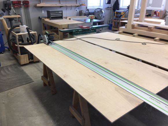 Breaking down half-inch plywood for door panels with the track saw