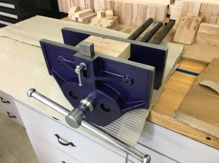 Woodworking vise with ten-and-a-half inch jaws