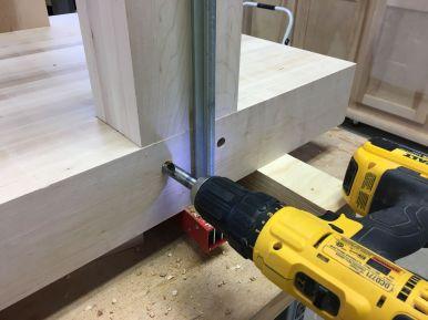 Transferring peg holes to leg tenons