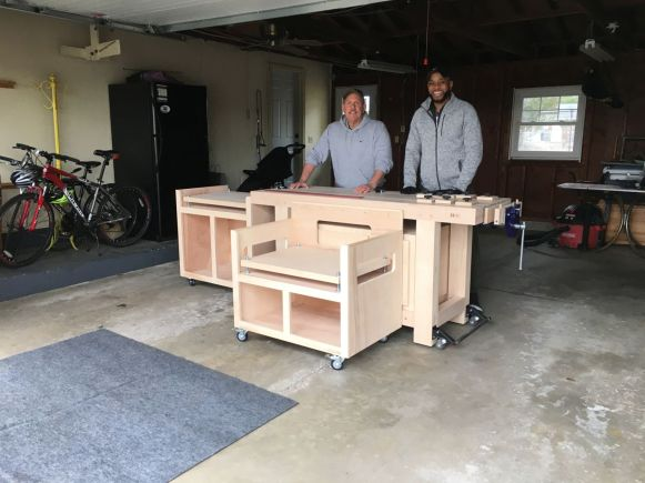 Rob and James with his new workbench