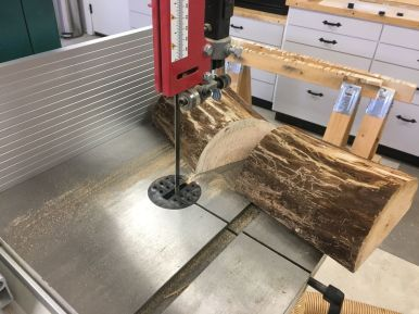 Bandsawing half log sections to bowl blank lengths