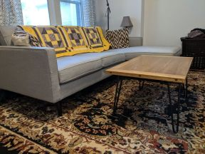 Coffee table Looking great in Kyle's living room, alongside the beautiful handmade quilt from Linda!
