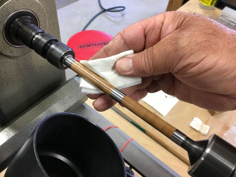 Wiping on six coats of Aussie Oil friction finish