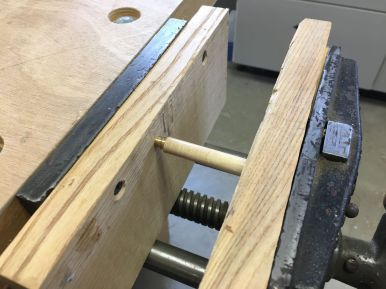 The wood working vise works well for pen assembly
