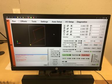UCCNC control software sending the G code programming to the CNC router