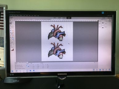 Laying out copies of the muted color heart illustration in InkScape