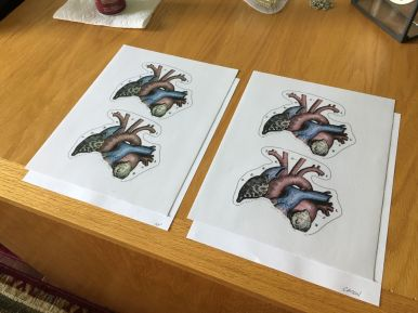 Vinyl heart illustrations for testing, printed on HP and Canon printers