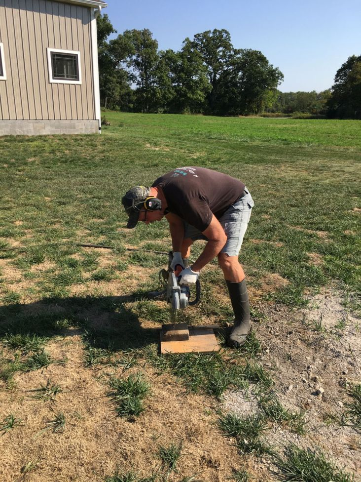 Cutting Pavers with Rented Electric Concrete Saw