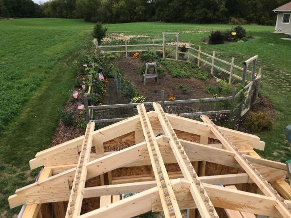Purlins Installed with Garden Beyond