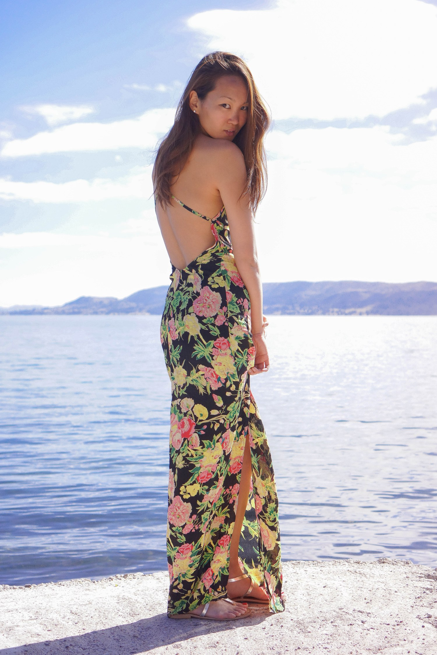 mariko kuo in topshop dress at lake titicaca peru
