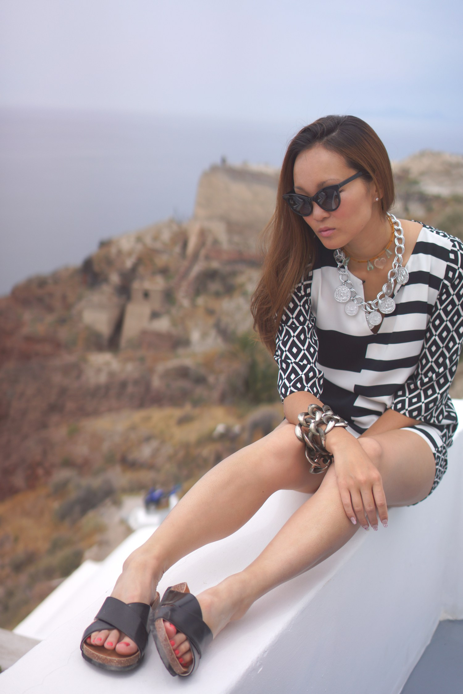 Mariko Kuo in Santorini Greece