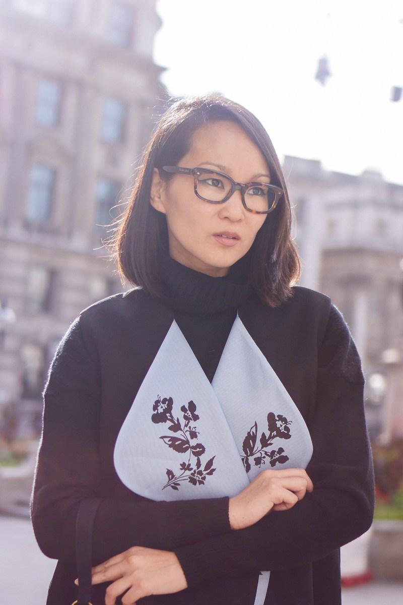 mariko kuo wearing giorgio armani frames for life eyewear