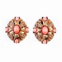 Gold, Rhinestones, Coral Earrings