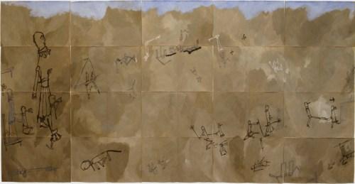 """mutus liber """"mute libertine 02"""" (2003, 48.0x75.0x20pieces, acrylic, paper)"""