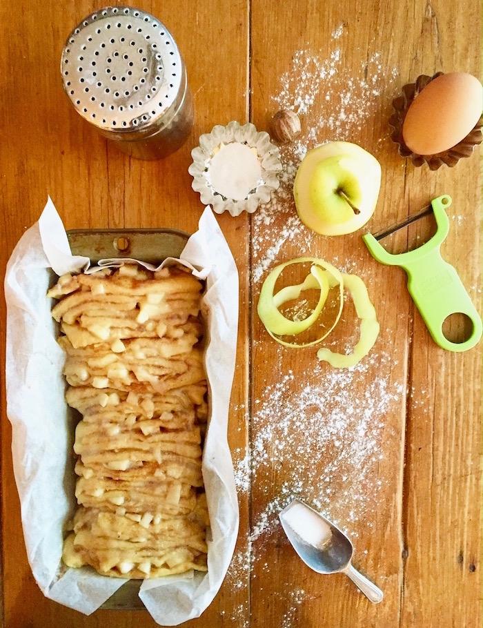 apple cinnamon bread prep