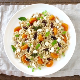 Pearl Couscous Salad with Feta, Olives and Fresh Mint
