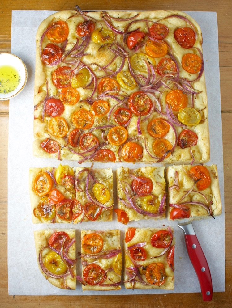Greek flatbread with tomatoes and onions