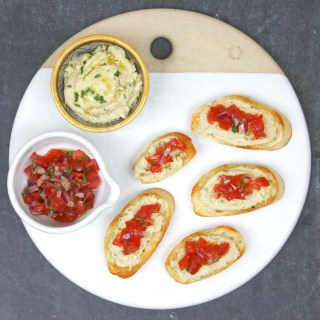 Crostini with Cannellini Beans and Tomato Relish