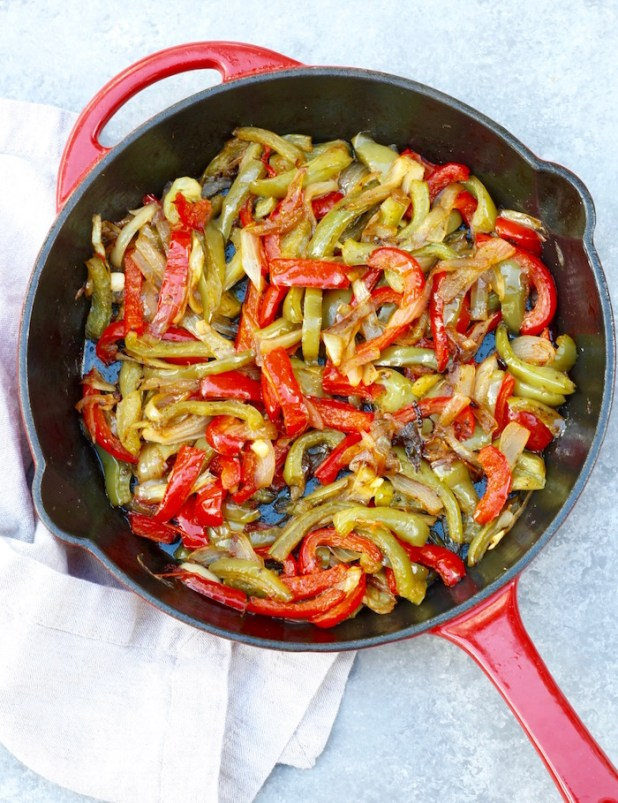 sauté peppers and onions