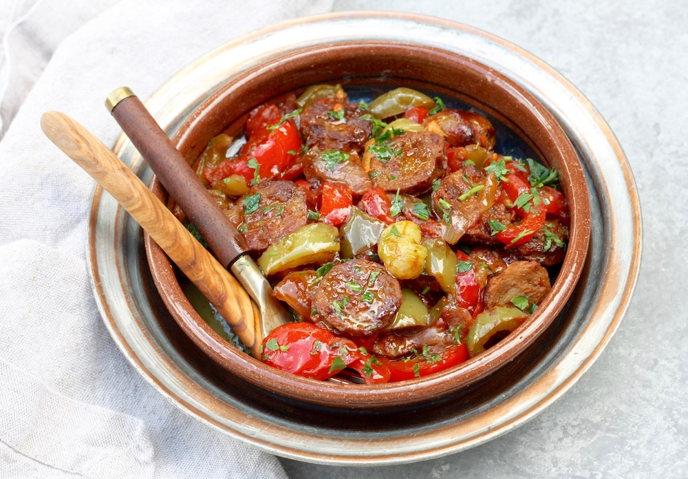 One pan sausage, pepper and onion braise