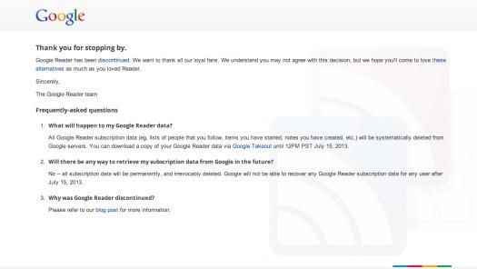 Google Reader goodbye