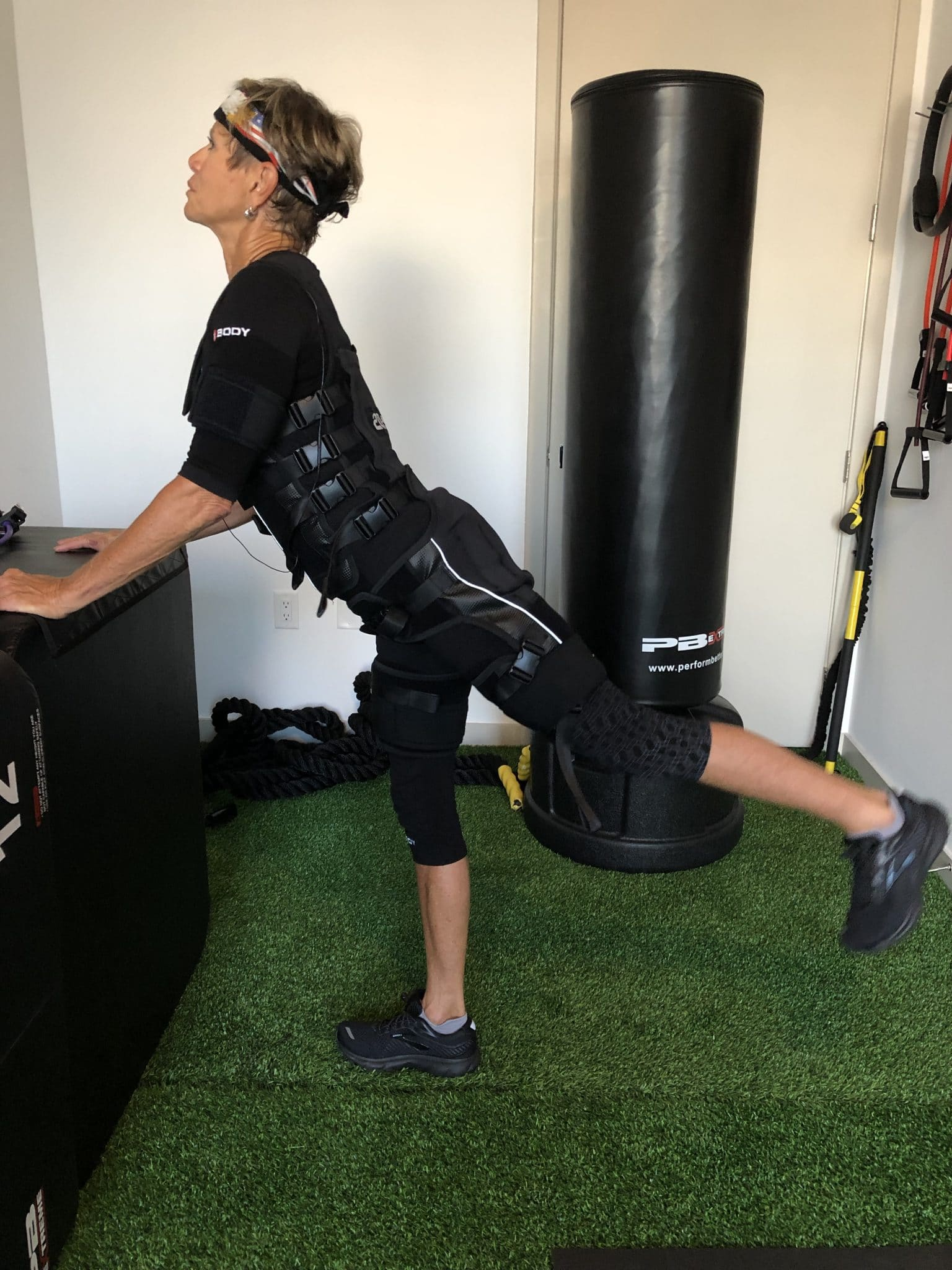 Low and body weight exercises work well with electronic stimulation