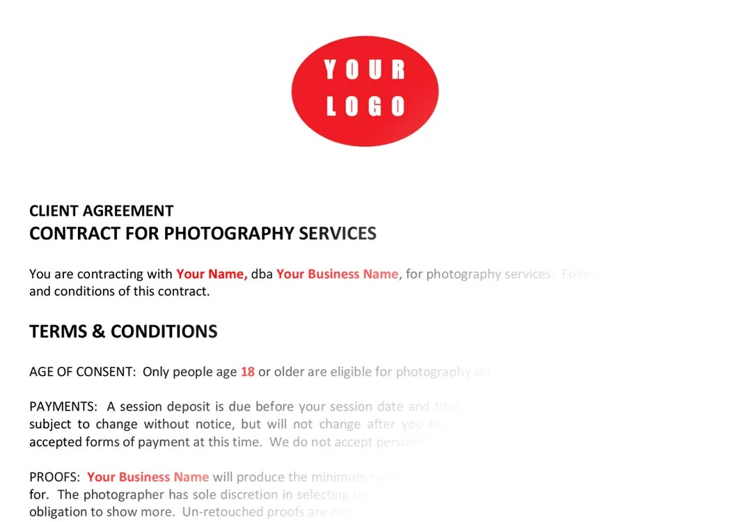 Marilyn Riel CT Photographer Menagerie Photography Contracts Forms