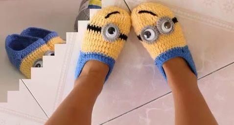 23d77f48c DIY pantuflas Minions a crochet - Marina Creativa