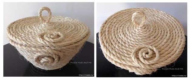 DIY como hacer un cesto de cuerdacon tapa