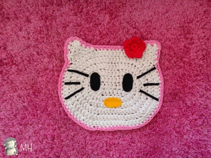 DIY Alfombra Hello Kitty a crochet
