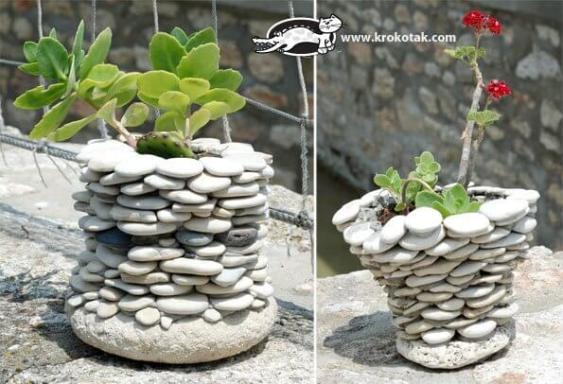 Floreros o macetas con piedras