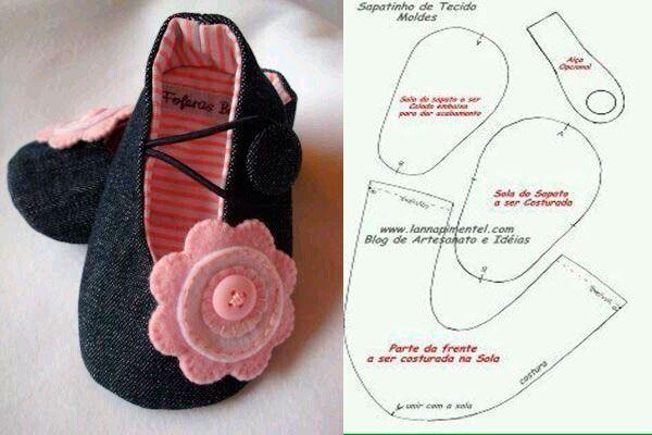 6 Modelos con molde de zapatillas para bebe 6