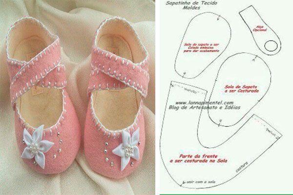 6 Modelos con molde de zapatillas para bebe 2