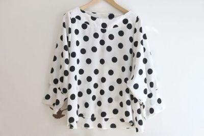 DIY+patrones para hacer una blusa de lunares 2