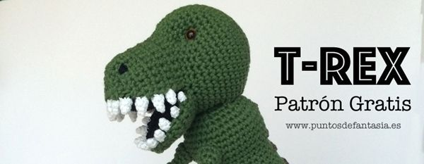 Patrón gratis para hacer un dinosaurio T-rex en amigurimi