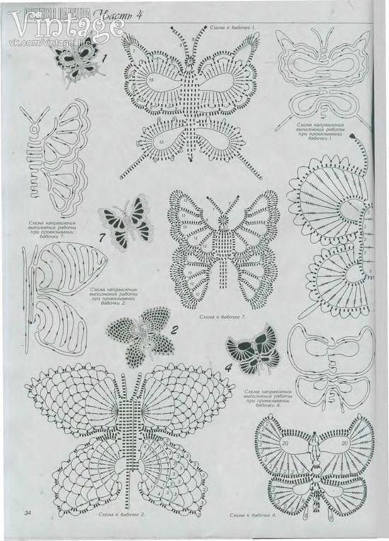 Patrón para tejer mariposas a crochet 3
