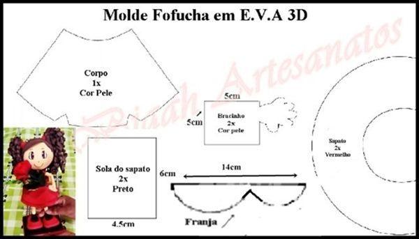 Tutorial y molde para hacer una muñeca fofucha Eva 3D (2)