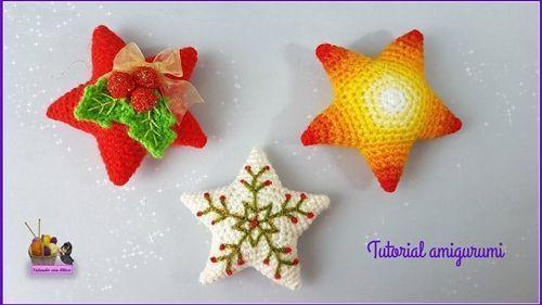 Cómo hacer estrellas de navidad en amigurimi