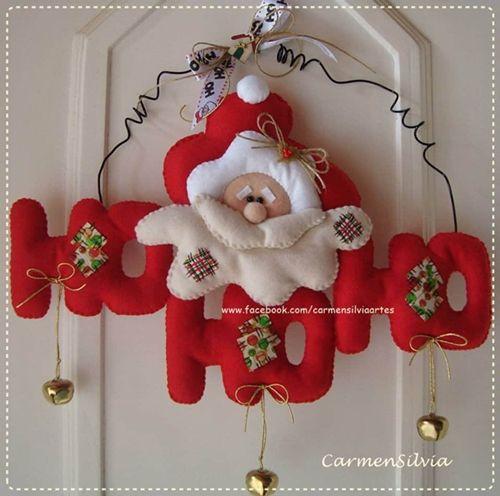 Moldes letrero de navidad papá noel en fieltro