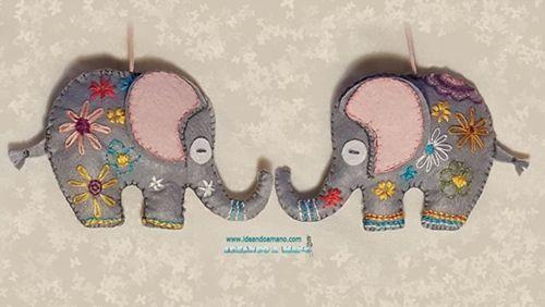 Diy + patrón para hacer un elefante de fieltro