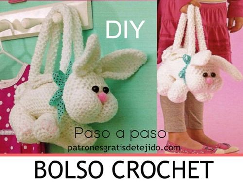Bolso conejo hecho a crochet (patrones)