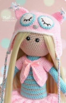 Muñeca amigurimi con sombrero de búho (2)