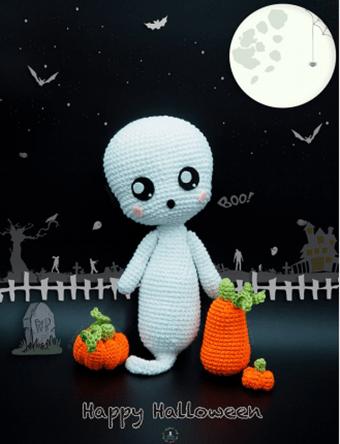 Fantasma Boo amigurimi patrón gratis