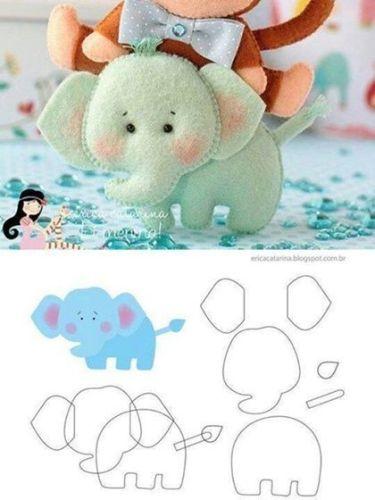 7 Moldes de fieltro de elefantes (molde 5)