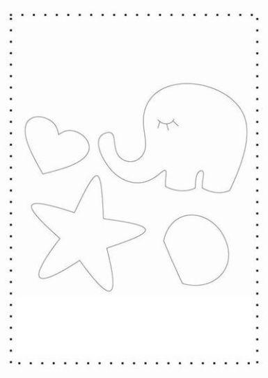 7 Moldes de fieltro de elefantes (molde 2)