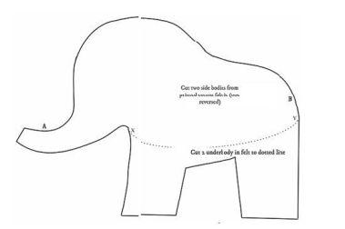 7 Moldes de fieltro de elefantes (molde 3)