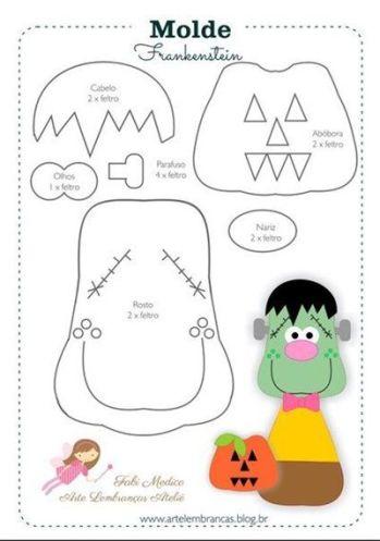 Moldes de fieltro para halloween (Molde 9)