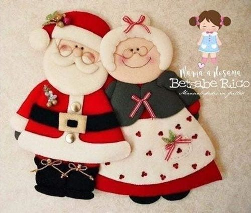 Moldes gratis Papá y Mamá Noel fieltro